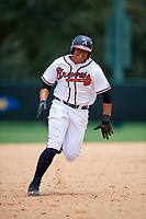 GCL Braves first baseman Ray Hernandez (46) runs the bases during the second game of a doubleheader against the GCL Yankees West on July 30, 2018 at Champion Stadium in Kissimmee, Florida.  GCL Braves defeated GCL Yankees West 5-4.  (Mike Janes/Four Seam Images)
