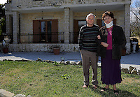Pictured: John Hatton and wife Heather in the garden of their house Wednesday 15 February 2017<br /> Re: John and Heather Hatton, expat couple in Greece who are unable to sell their house in the village of Vamos, Chania, Crete to return to the UK because their neighbour won't pay his taxes.<br /> Heather Hatton needs to return to the UK for urgent medical care.