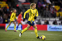 COLUMBUS, OH - NOVEMBER 07: Nathalie Bjorn #5 of Sweden dribbles the ball during a game between Sweden and USWNT at MAPFRE Stadium on November 07, 2019 in Columbus, Ohio.