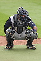 Colorado Springs Sky Sox catcher Robinzon Diaz (7) warms up prior to a Pacific Coast League game against the Iowa Cubs on May 10th, 2015 at Principal Park in Des Moines, Iowa.  Iowa defeated Colorado Springs 14-2.  (Brad Krause/Four Seam Images)