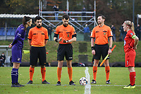 Match referee Ercan Eray (M) checks the coin during a female soccer game between FC Femina WS Woluwe and RSC Anderlecht Women on the eight match day of the 2020 - 2021 season of Belgian Women's Super League , Sunday 22nd of November 2020  in Woluwe, Belgium . PHOTO SPORTPIX.BE | SPP | SEVIL OKTEM