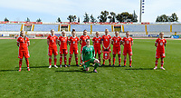 20180302 - LARNACA , CYPRUS : Welsh team pictured posing for the teampicture in a strange way with Natasha Harding (7) , Rhiannon Roberts (5) , Charlotte Estcourt (17) , Angharad James (8) , Kayleigh Green (9) , Nadia Lawrence (11) , Sophie Ingle (4) , Loren Dykes (2) , Rachel Rowe (13) , Jessica Fishlock (10) and goalkeeper Laura O'Sullivan (1) during a women's soccer game between Italy and Wales , on friday 2 March 2018 at GSZ Stadium in Larnaca , Cyprus . This is the second game in group A for Italy and Wales during the Cyprus Womens Cup , a prestigious women soccer tournament as a preparation on the World Cup 2019 qualification duels. PHOTO SPORTPIX.BE | DAVID CATRY