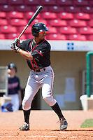 Lansing Lugnuts outfielder Dalton Pompey #15 bats during a game against the Cedar Rapids Kernels at Veterans Memorial Stadium on April 30, 2013 in Cedar Rapids, Iowa. (Brace Hemmelgarn/Four Seam Images)