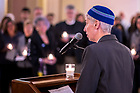 March 21, 2019; Rabbi Karen Companez speaks at a prayer service in memory of the victims of the Mar. 15 New Zealand mosque attacks. (Photo by Matt Cashore/University of Notre Dame)