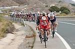 The peloton during Stage 10 of La Vuelta d'Espana 2021, running 189km from Roquetas de Mar to Rincón de la Victoria, Spain. 24th August 2021.     <br /> Picture: Luis Angel Gomez/Photogomezsport   Cyclefile<br /> <br /> All photos usage must carry mandatory copyright credit (© Cyclefile   Luis Angel Gomez/Photogomezsport)