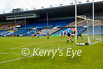 Diarmuid O'Connor, Kerry has a shot at goal despite the attention of Michael Fitzimons, Dublin during the Allianz Football League Division 1 South between Kerry and Dublin at Semple Stadium, Thurles on Sunday.