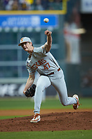 Texas Longhorns relief pitcher Sam Walbridge (47) delivers a pitch to the plate against the LSU Tigers in game three of the 2020 Shriners Hospitals for Children College Classic at Minute Maid Park on February 28, 2020 in Houston, Texas. The Tigers defeated the Longhorns 4-3. (Brian Westerholt/Four Seam Images)