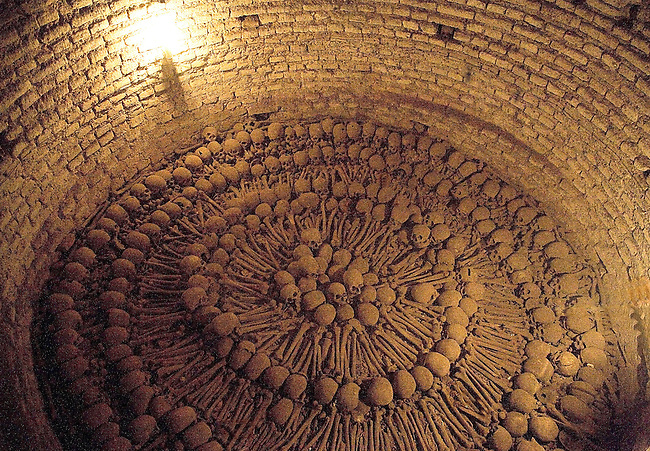 THE CATACOMBS UNDERNEATH THE MONASTERIO DE SAN FRANCISCO IN LIMA, PERU, REVEALS SKULLS AND BONES OF THE BURIED.