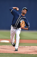 Asheville Tourists starting pitcher Carlos Polanco (18) delivers a pitch during a game against the Augusta GreenJackets on April 28, 2015 in Asheville, North Carolina. The Tourists defeated the GreenJackets 7-3. (Tony Farlow/Four Seam Images)
