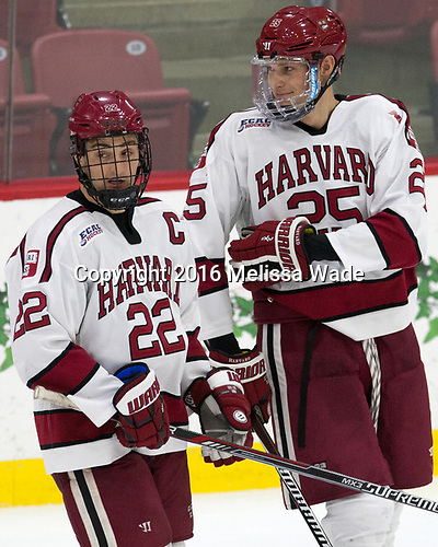 Devin Tringale (Harvard - 22), Wiley Sherman (Harvard - 25) - The Harvard University Crimson defeated the US National Team Development Program's Under-18 team 5-2 on Saturday, October 8, 2016, at the Bright-Landry Hockey Center in Boston, Massachusetts.