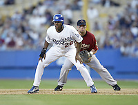 Wilkin Ruan of the Los Angeles Dodgers leads off of first base during a 2002 MLB season game at Dodger Stadium, in Los Angeles, California. (Larry Goren/Four Seam Images)