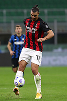Calcio, Serie A: Inter Milano - AC Milan , Giuseppe Meazza (San Siro) stadium, in Milan, October 17, 2020.<br /> Milan's Zlatan Ibrahimovic in action during the Italian Serie A football match between Inter and Milan at Giuseppe Meazza (San Siro) stadium, October 17,  2020.<br /> UPDATE IMAGES PRESS/Isabella Bonotto