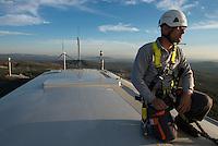 TURKEY, Bakir, 35 MW wind farm GOEKRES 2 of company Gama Enerji with General Electric GE wind turbines / TUERKEI, Bakir, 35 MW Windpark GOEKRES 2 der Gama Enerji mit GE Windkraftanlagen