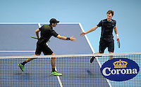 Jamie Murray (SCO) and John Peers (AUS) celebrate winning the first set against Simone Bolelli (ITA) and Fabio Fognini (ITA) during Day One of the Barclays ATP World Tour Finals 2015 played at The O2, London on November 15th 2015