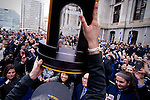 To honor the championship team Villanova Wildcats' Ryan Arcidiacono presents the NCAA 2016 Championship trophy to a crowd of an estimated 72.000 fans gathered at Dilworth Park in Center City Philadelphia, PA, on Apr. 8th, 2016.