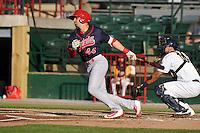 Peoria Chiefs Thomas Spitz (44) swings during the Midwest League game against the Burlington Bees at Community Field on June 8, 2016 in Burlington, Iowa.  Burlington won 4-2.  (Dennis Hubbard/Four Seam Images)