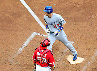 24 April 2010: Los Angeles Dodgers' infielder Casey Blake touches home plate after hitting a home run against the Washington Nationals at Nationals Park in Washington, DC. The Dodgers edged out the Nationals 4-3. Mandatory Credit: Ed Wolfstein Photo