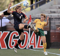 Cat Whitehill from Birmingham. Alabama vs Sarah Walsh of Australia during international friendly match between the US Womens National Team and Australia at Legion Field in Birmingham, Alabama.  USA beats Australia in the 94th minute 5 to 4.