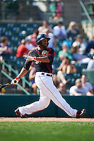 Rochester Red Wings outfielder Aaron Hicks (31) at bat during a game against the Norfolk Tides on May 3, 2015 at Frontier Field in Rochester, New York.  Rochester defeated Norfolk 7-3.  (Mike Janes/Four Seam Images)