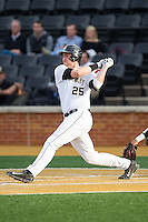 Matt Conway (25) of the Wake Forest Demon Deacons follows through on his swing against the Maryland Terrapins at Wake Forest Baseball Park on April 4, 2014 in Winston-Salem, North Carolina.  The Demon Deacons defeated the Terrapins 6-4.  (Brian Westerholt/Four Seam Images)