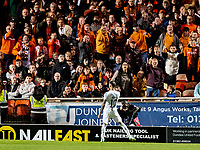 23rd September 2021;  Tannadice Park, Dundee, Scotland: Scottish League Cup football, Dundee United versus Hibernian: Martin Boyle of Hibernian celebrates after scoring hibs 3rd goal in front of the Dundee Utd fans who get animated