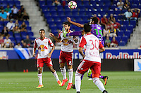 Harrison, NJ - Wednesday Aug. 03, 2016: Felipe Martins, Sixto Betancourt during a CONCACAF Champions League match between the New York Red Bulls and Antigua at Red Bull Arena.