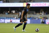 SAN JOSE, CA - AUGUST 24: Andres Rios #25 of the San Jose Earthquakes during a Major League Soccer (MLS) match between the San Jose Earthquakes and the Vancouver Whitecaps FC  on August 24, 2019 at Avaya Stadium in San Jose, California.