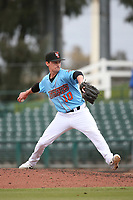 Austin Warren (10) of the Inland Empire 66ers pitches against the Stockton Ports at San Manuel Stadium on May 26, 2019 in San Bernardino, California. (Larry Goren/Four Seam Images)