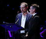 Matthew Sklar and Chad Begeulin on stage at the Dramatists Guild Foundation 2018 dgf: gala at the Manhattan Center Ballroom on November 12, 2018 in New York City.