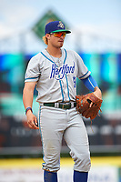 Hartford Yard Goats third baseman Josh Fuentes (13) during a game against the Binghamton Rumble Ponies on July 9, 2017 at NYSEG Stadium in Binghamton, New York.  Hartford defeated Binghamton 7-3.  (Mike Janes/Four Seam Images)