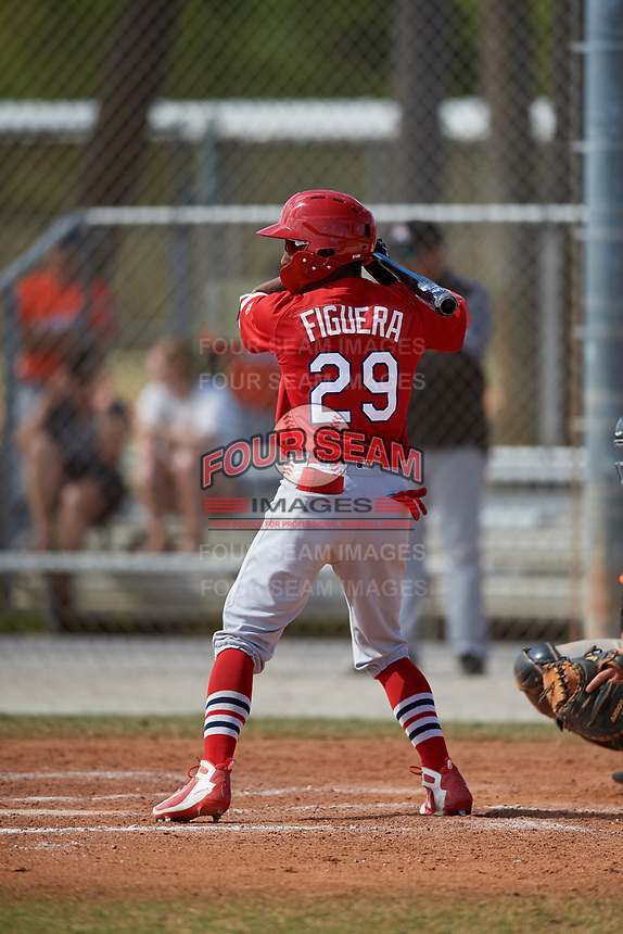 St. Louis Cardinals Edwin Figuera (29) during a Minor League Spring Training game against the Miami Marlins on March 26, 2018 at the Roger Dean Stadium Complex in Jupiter, Florida.  (Mike Janes/Four Seam Images)
