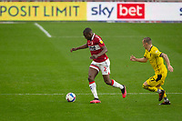 3rd October 2020; Riverside Stadium, Middlesbrough, Cleveland, England; English Football League Championship Football, Middlesbrough versus Barnsley; Anfernee Dijksteel of Middlesbrough FC shadowed by Marcel Ritzmaier of Barnsley FC