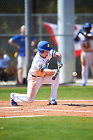 South Dakota State Jackrabbits third baseman Matthew Krambeck (23) bunts during a game against the FIU Panthers on February 23, 2019 at North Charlotte Regional Park in Port Charlotte, Florida.  South Dakota State defeated FIU 4-3.  (Mike Janes/Four Seam Images)