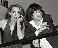 Jagger Hall6837.JPG<br /> New York, NY 1978 FILE PHOTO<br /> Mick Jagger, Jerry Hall<br /> Studio 54<br /> Digital photo by Adam Scull-PHOTOlink.net<br /> ONE TIME REPRODUCTION RIGHTS ONLY<br /> NO WEBSITE USE WITHOUT AGREEMENT<br /> 718-487-4334-OFFICE  718-374-3733-FAX