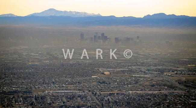 Aerial Denver, Colorado. Smog inversion.