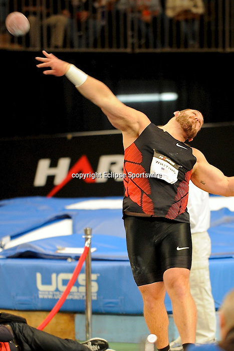 Ryan Whiting wins the men's shot put at the first U.S. Open on January 29, 2012 at Madison Square Garden in New York, New York.  (Bob Mayberger/Eclipse Sportswire)