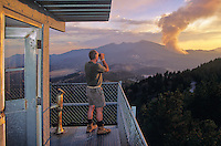 Fire lookout on O'Leary Peak tower observing the Bear Jaw Forest Fire, Coconino National Forest, Flagstaff, Arizona, AGPix_0163.