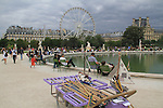 Sailboats for rent at the Jardin des Tuileries and the Louvre Museum, Paris, France.