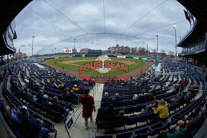 A wide-angle view of the first pitch ever thrown at Atrium Health Ballpark during an NCAA baseball game between the Appalachian State Mountaineers and the Charlotte 49ers on March 23, 2021 in Kannapolis, North Carolina. (Brian Westerholt/Four Seam Images)