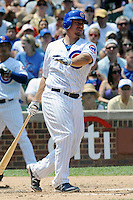 Chicago Cubs catcher Steve Clevenger #51 swings at a pitch during a game against the Arizona Diamondbacks at Wrigley Field on July 15, 2012 in Chicago, Illinois. The Cubs defeated the Diamondbacks 3-1. (Tony Farlow/Four Seam Images).