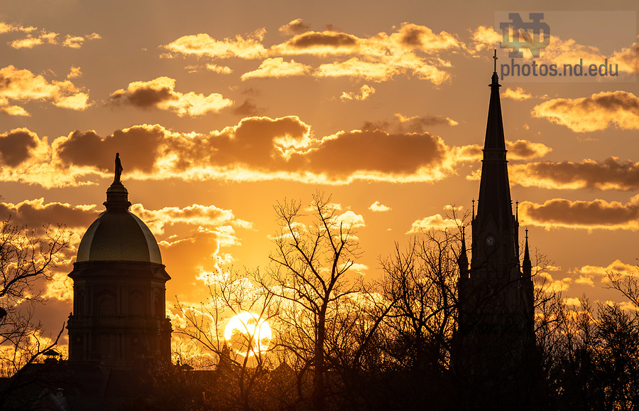 May 7, 2020; Sunrise behind the Dome and Basilica (Photo by Matt Cashore/University of Notre Dame)