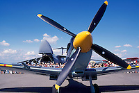 Supermarine Spitfire Mk IX on Static Display - at Abbotsford International Airshow, BC, British Columbia, Canada - US Air Force Lockheed C-5 Galaxy Military Cargo Transport Aircraft in background