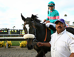 August 7th 2010: Zenyatta and jockey Mike Smith with groom Mario Espinoza after winning the Clement L. Hirsch Stakes(GI) at Del Mar Race Track in Del Mar CA.