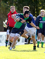 Saturday 10th October 2020 | Ballynahinch vs Queens<br /> <br /> Zack McCall on the attack is tackled by Graham Curtis during the Energia Community Series clash between Ballynahinch and Queens at Ballymacarn Park, Ballynahinch, County Down, Northern Ireland. Photo by John Dickson / Dicksondigital