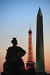 The twilight view of a statue representing French in Concorde Square Place de la Concorde with Obelisk and Eiffel Tower in the background. Paris. France