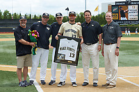 Keegan Maronpot (13) of the Wake Forest Demon Deacons is honored on Senior Day prior to the game against the Virginia Cavaliers at David F. Couch Ballpark on May 19, 2018 in  Winston-Salem, North Carolina. The Demon Deacons defeated the Cavaliers 18-12. (Brian Westerholt/Four Seam Images)