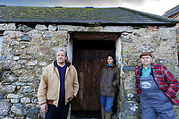 Pictured L-R: Campaigners Gareth Chapman, JessBuchanan and Gerald Miles at Trecadwgan farm near Solva. Friday 10 January 2020<br /> Re: Farmers campaigning to save a 14th century farm called Trecadwgan and keep it for a community project in Solva, west Wales, UK.