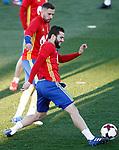 Spain's Jordi Alba (l) and Denis Suarez during training session. March 20,2017.(ALTERPHOTOS/Acero)