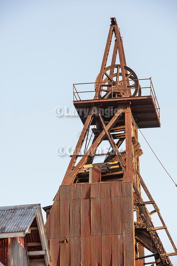 Historic Argonaut Mine headframe overlooking Jackson, Calif.