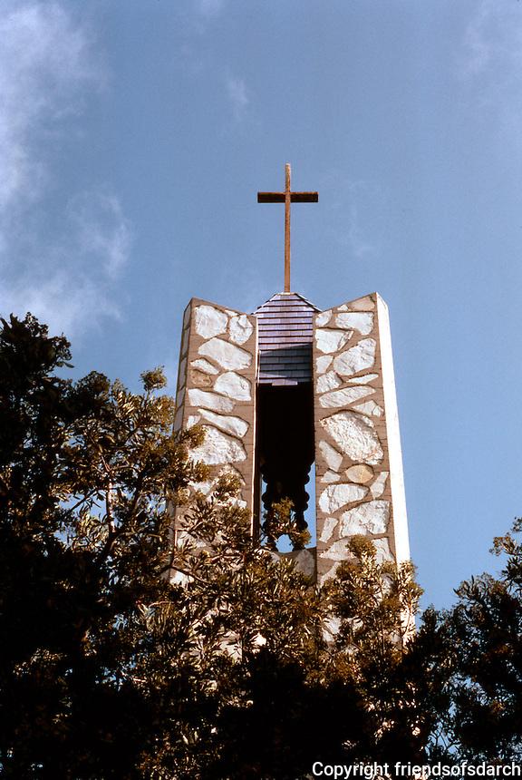 Lloyd Wright: Wayfarer's Chapel, 1946-1971. Bell Tower.  Photo '82.